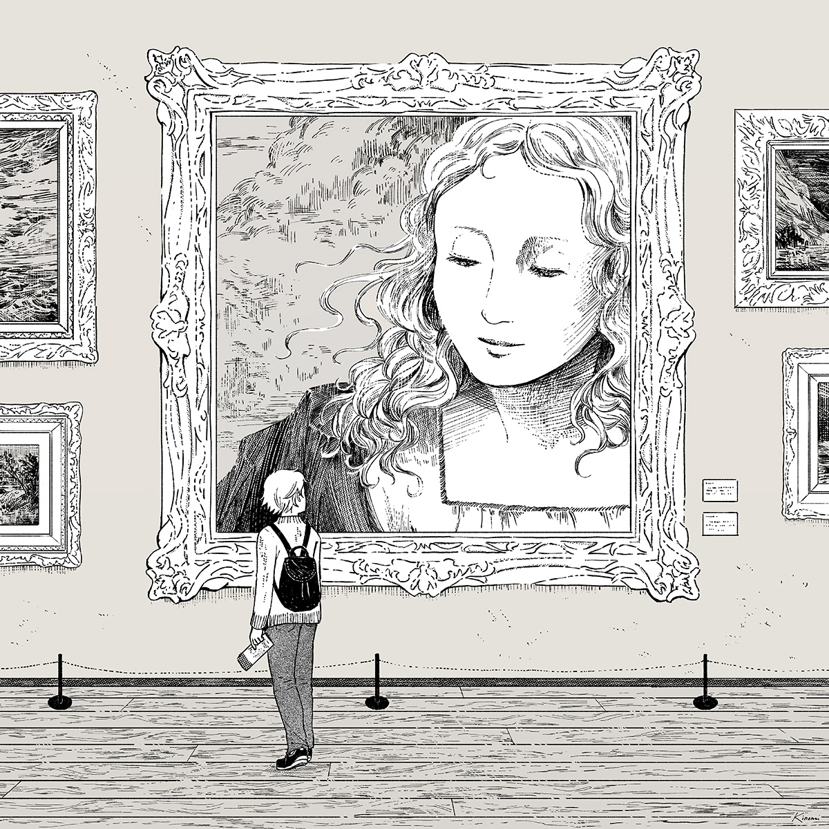 Gallery Viewing - art drawing by Kinomi