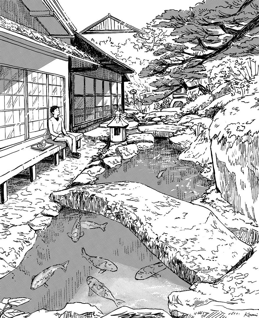 Teahouse garden - art drawing by Kinomi